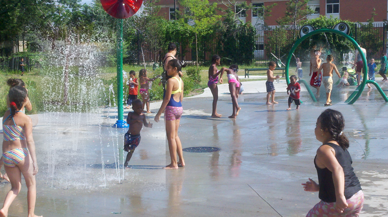 July 2011: New Splash Pad for Kids Donated to Luis Marin Park in Bridgeport, CT